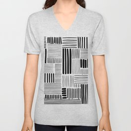 Black and White Abstract Pattern Unisex V-Neck