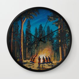 campfire - by phil art guy Wall Clock