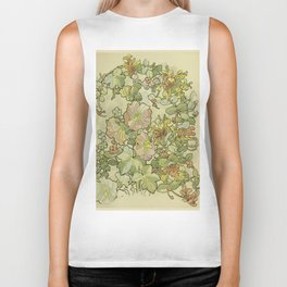 "Alphonse Mucha ""Printed textile design with hollyhocks in foreground"" Biker Tank"