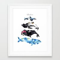 whales Framed Art Prints featuring Whales by Amee Cherie Piek
