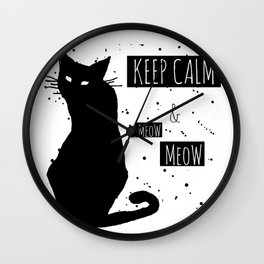 Hand drawn grange black cat Wall Clock