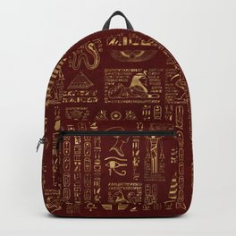 Egyptian hieroglyphs and symbols gold on red leather Backpack