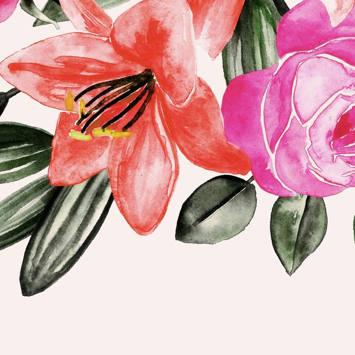 Roses and Lilies in watercolor Leggings