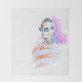Watercolor girl Throw Blanket