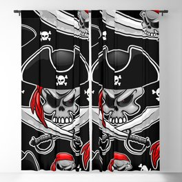 Skull Pirate Captain with Crossed Sabers Blackout Curtain