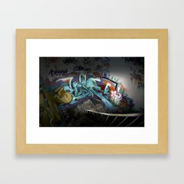 Abondoned factory graffiti Framed Art Print