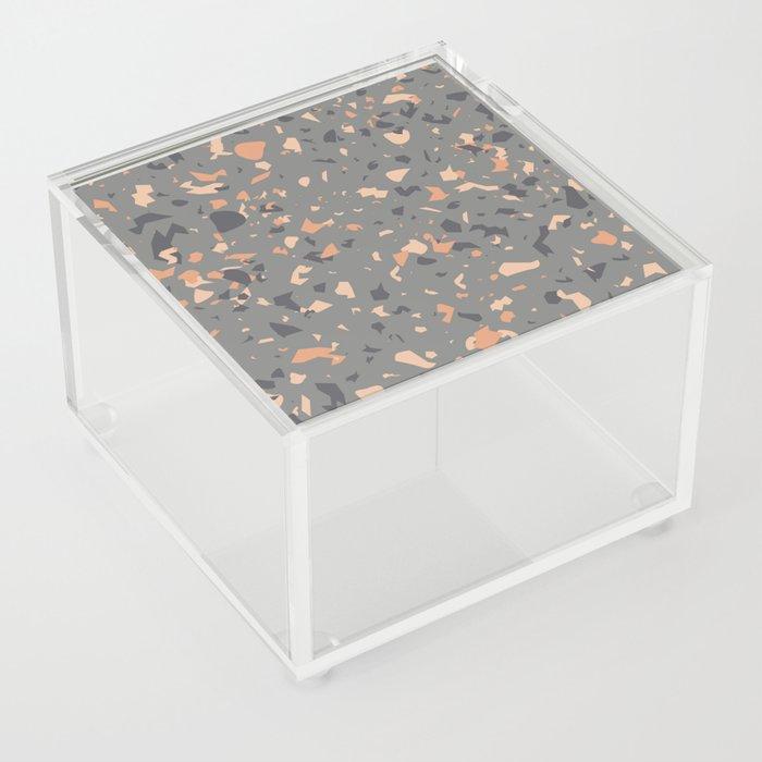 Coral and Gray Terrazzo Pattern Acrylic Box