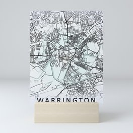 Warrington, England, White, City, Map Mini Art Print