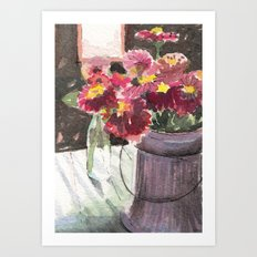 zinnias at sunset Art Print