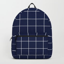 Navy Blue Grid Lines Minimal Backpack