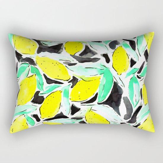 Bold Lemons Black Rectangular Pillow