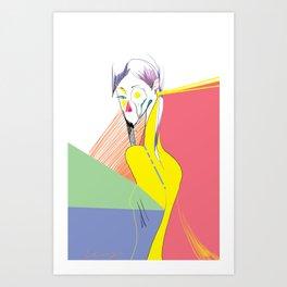 A girl with mustache Art Print