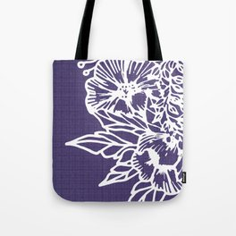 White Flowery Linocut Wreath On Checked UltraViolet Tote Bag