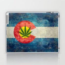 Retro Colorado State flag with leaf - Marijuana leaf that is! Laptop & iPad Skin