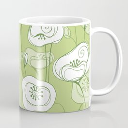 Stylized Poppies - green Coffee Mug