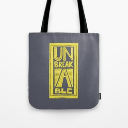 Unbreakable - typography Lino cut Tote Bag