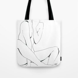 line drawing of nude woman Tote Bag