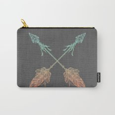 Tribal Arrows Turquoise Coral Gradient on Gray Carry-All Pouch