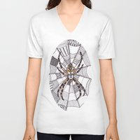 spider V-neck T-shirts featuring Spider by Laura Maxwell