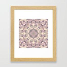 47 Wisteria Circle - Vintage Cream and Lavender Purple Mandala Framed Art Print