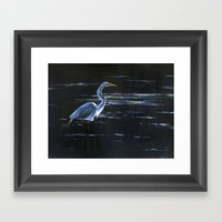 Great Egret Wading in Dark Waters Framed Art Print