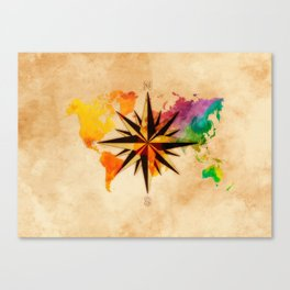 world map wind rose 2 #worldmap #map Canvas Print