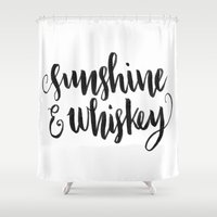 whiskey Shower Curtains featuring SUNSHINE & WHISKEY by Corina Rivera Designs