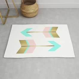 Gold Coral and Turquoise Boho Arrows Rug