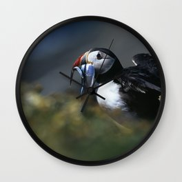 PUFFIN LANDING WITH SANDEELS Wall Clock
