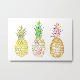 Three Tropical Pineapples Metal Print