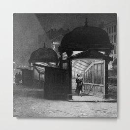 Late Traveler, Subway Street Scene, Night black and white painting by Martin Lewis Metal Print