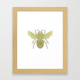 Bumble Bee Mandala Framed Art Print