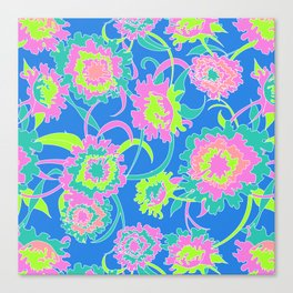 Bold Tropical Floral in Neon Blue + Lime Canvas Print