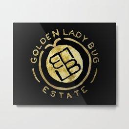 Golden Lady Bug Estates Black Metal Print