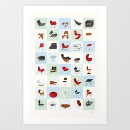 Mid-Century Modern Furniture (Cool) Art Print