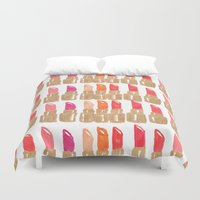 lipstick Duvet Covers featuring Lipstick! by Bouffants and Broken Hearts