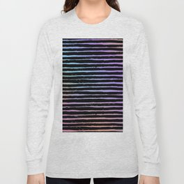Pink coral lavender watercolor black hand painted stripes Long Sleeve T-shirt