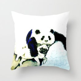 Pug and Panda after food Throw Pillow