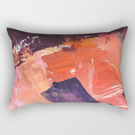 Amazon: a bright, colorful, abstract piece in orange, red, deep purple, and light blue Rectangular Pillow