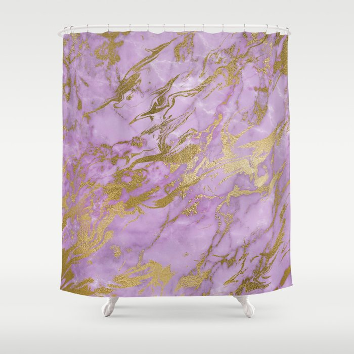 Lavender Gold Marble Shower Curtain