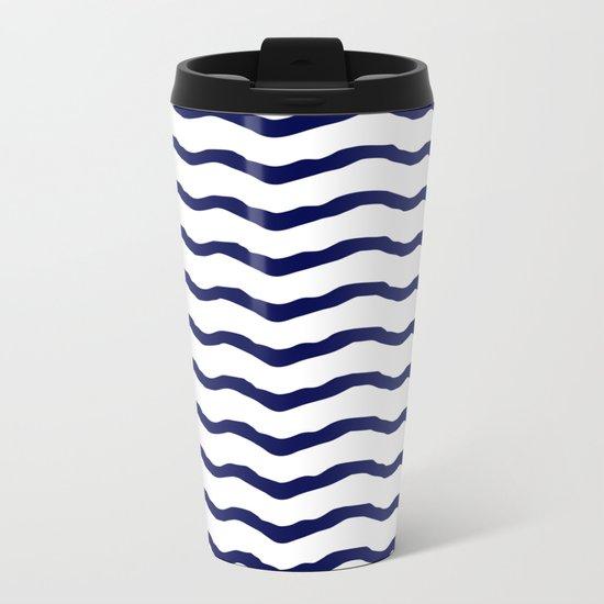 Maritime pattern- dark blue waves lines ond white  backround Metal Travel Mug