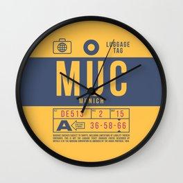 Luggage Tag B - MUC Munich Germany Wall Clock
