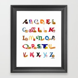 Fast Food Alphabet Framed Art Print