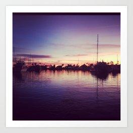 santa barbara harbor sunset  Art Print