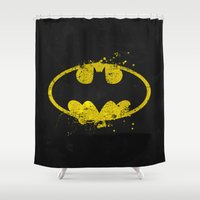 batgirl Shower Curtains featuring Bat man's Splash by Sitchko Igor