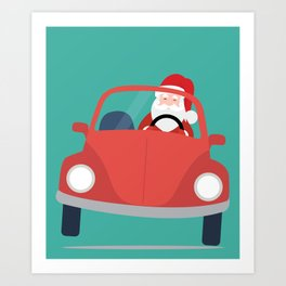 Santa Claus coming to you on his Car Sleigh Art Print