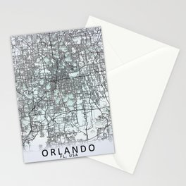 Orlando FL USA White City Map Stationery Cards