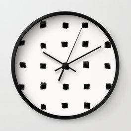 Polka Strokes Gapped - Black on Off White Wall Clock