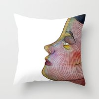 doll Throw Pillows featuring Doll by beerreeme