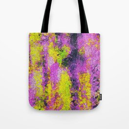 vintage psychedelic painting texture abstract in pink and yellow with noise and grain Tote Bag